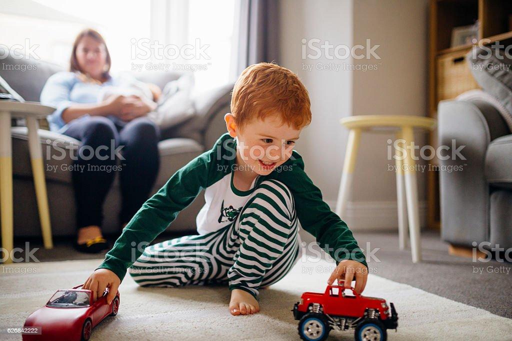 Racing Around the Living Room stock photo