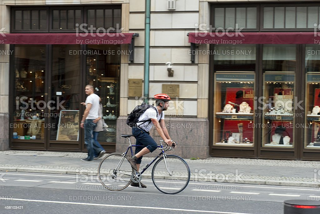 Racing bike in town royalty-free stock photo