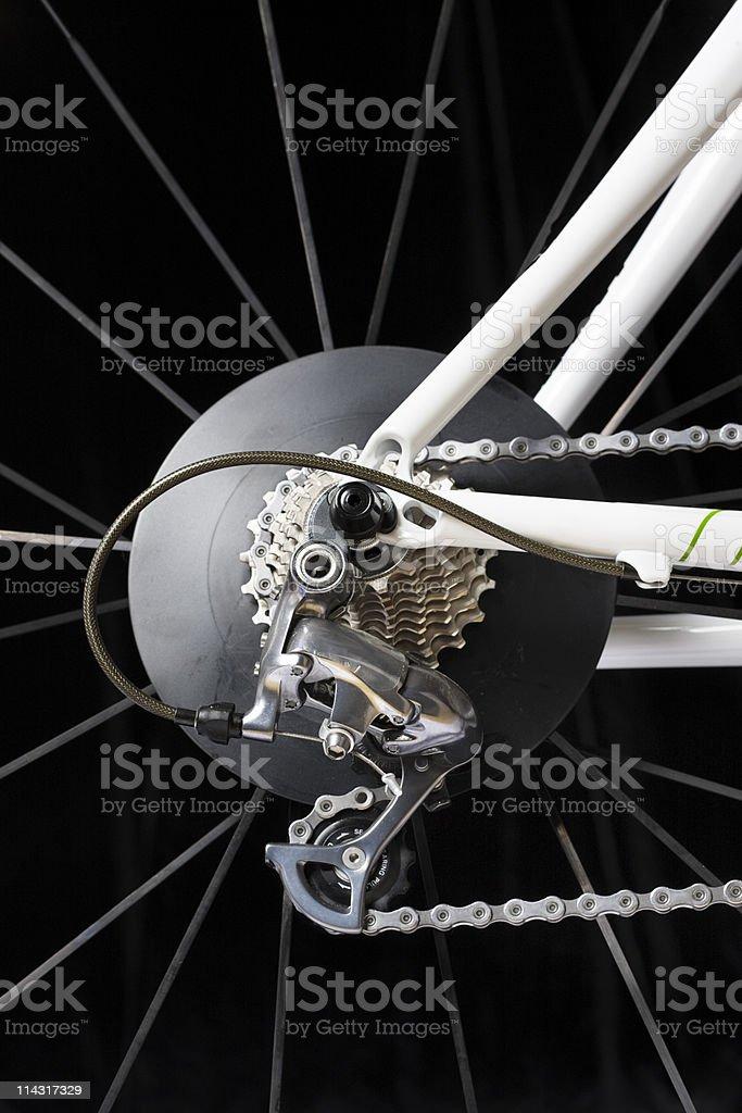 Racing bike rear wheel stock photo