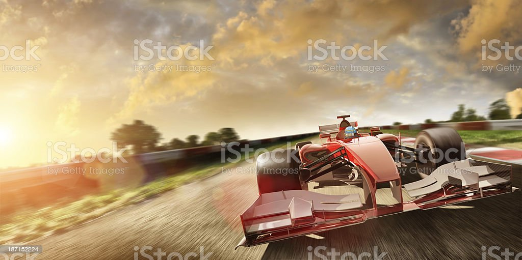 Racing Car At Speed In Summer Sunset stock photo