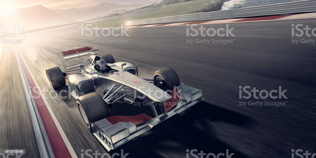 Racing Car At Sunset stock photo