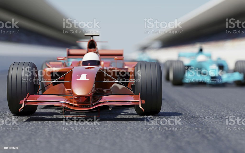 Racing Car on Starting Line stock photo