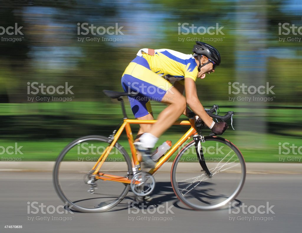 Racing Cyclist - Blurred Motion stock photo