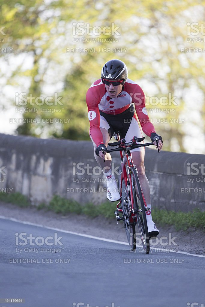 racing cyclist on Yorkshire country road royalty-free stock photo