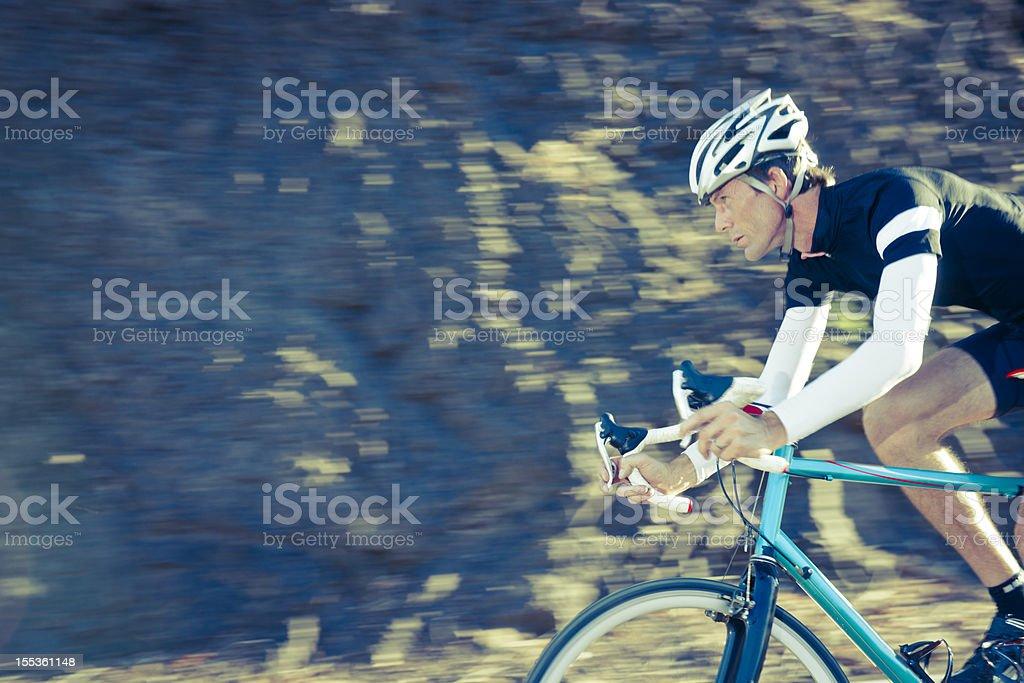 Racing cyclist training hard royalty-free stock photo