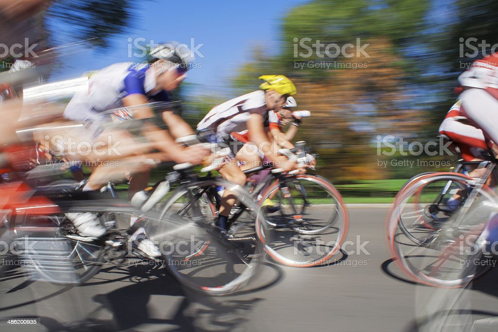 Racing Cyclists - Blurred Motion stock photo