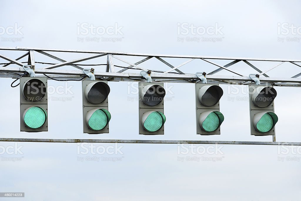 Racing green traffic light stock photo