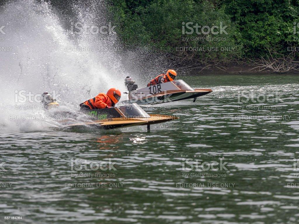 Racing Hydroplanes Memorial Weekend Boat Races Willamette River Newberg Oregon stock photo