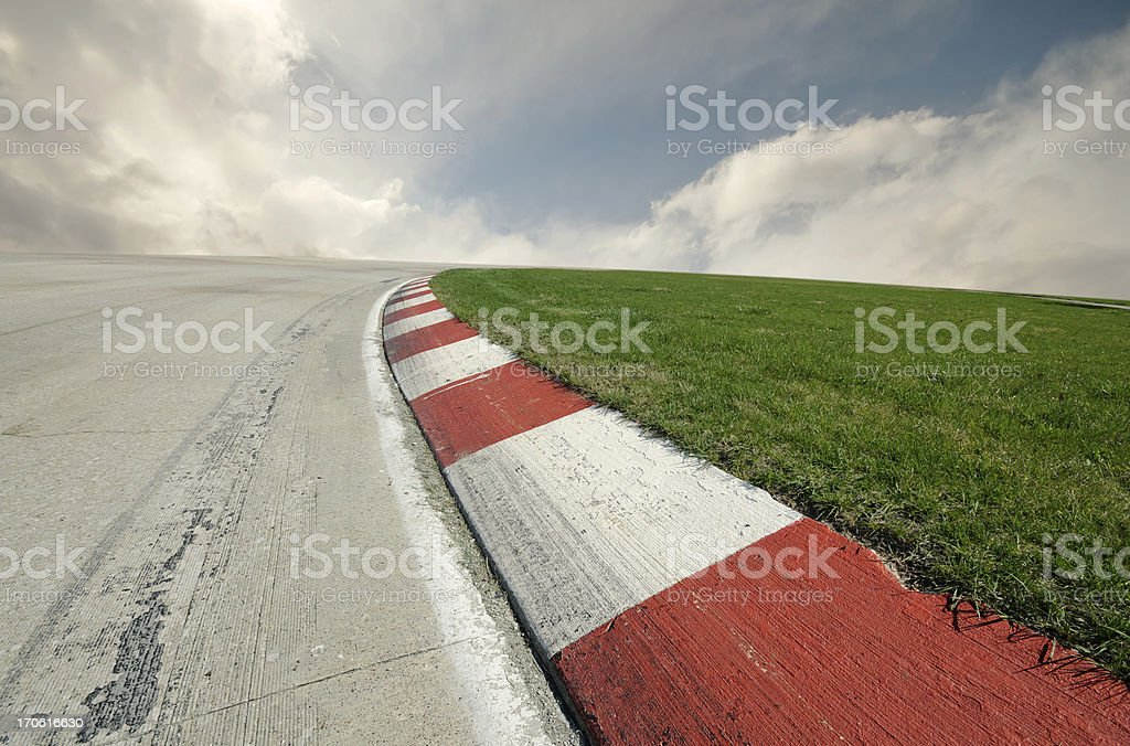 Racing Right Turn stock photo