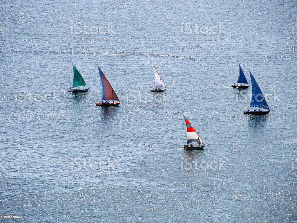 Racing sailboats at Bay of All Saints in Brazil stock photo