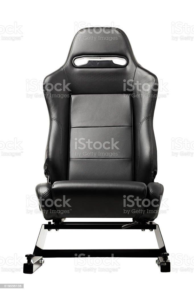 racing simulator seat on white stock photo