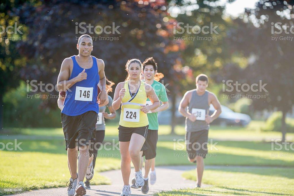 Racing Through the Park stock photo