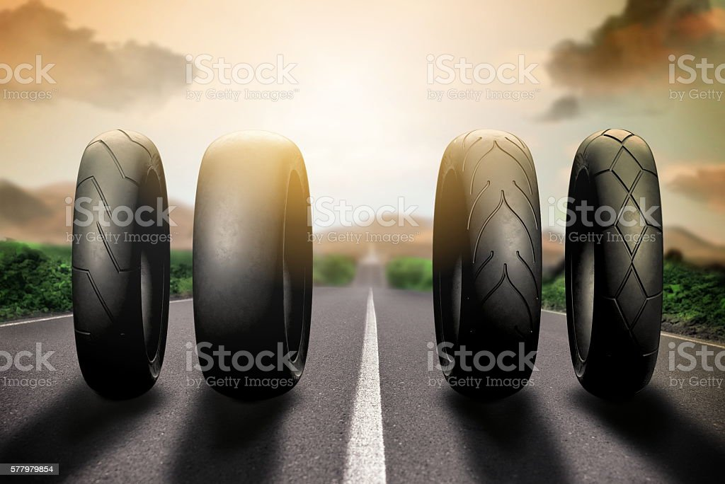 racing tires on route 66 stock photo