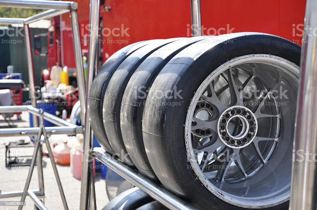 Racing tires on the shelf royalty-free stock photo