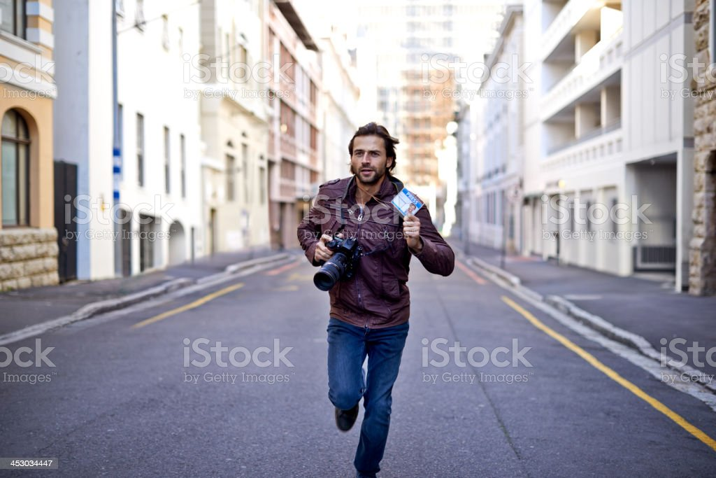 Racing to get the first photo stock photo