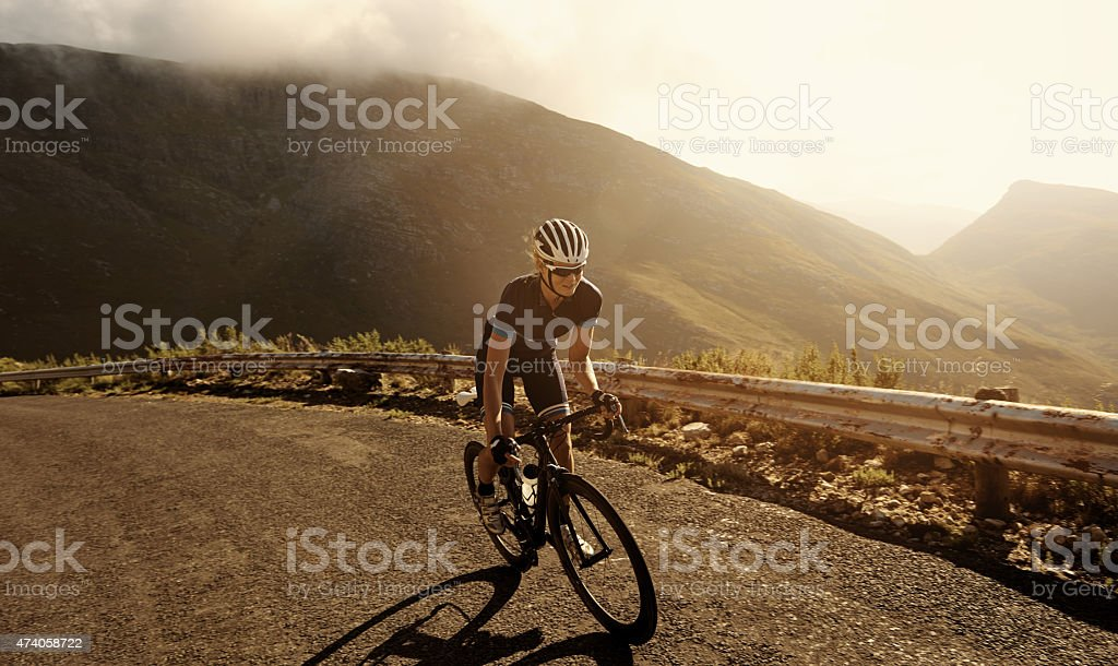 Racing towards her fitness goal stock photo