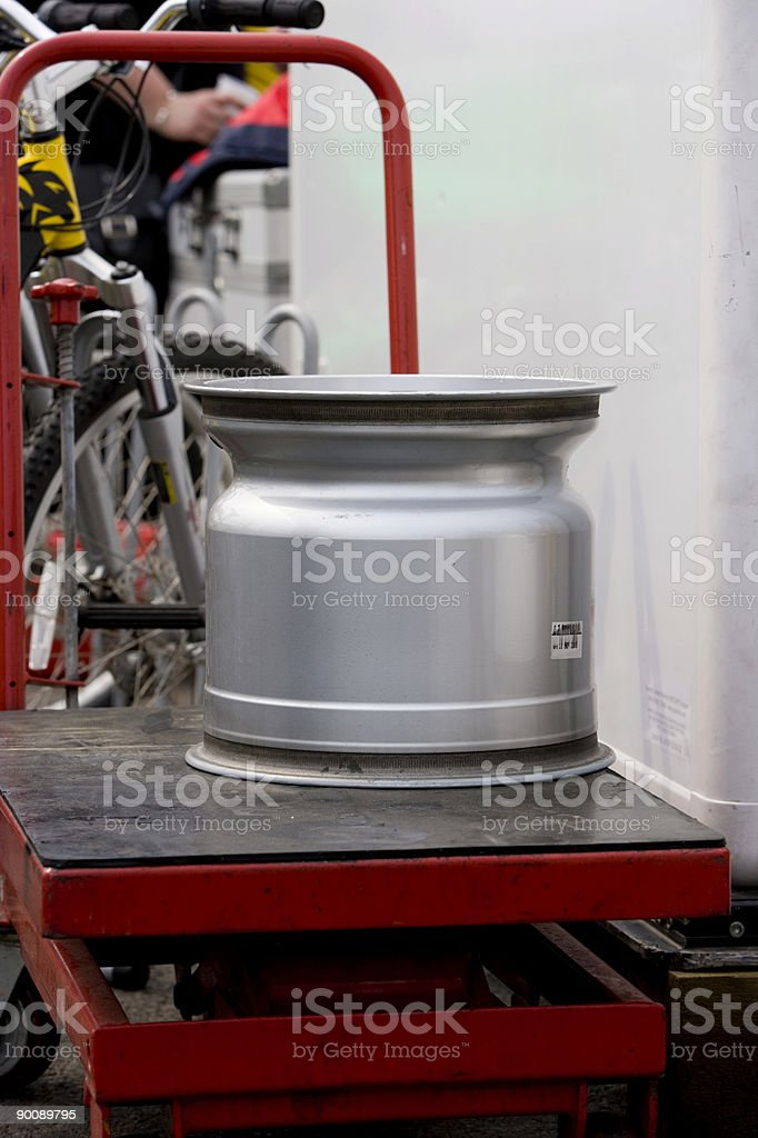 Racing wheel on a trolley royalty-free stock photo