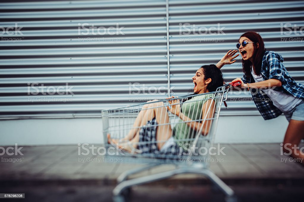Racing with a shopping cart stock photo
