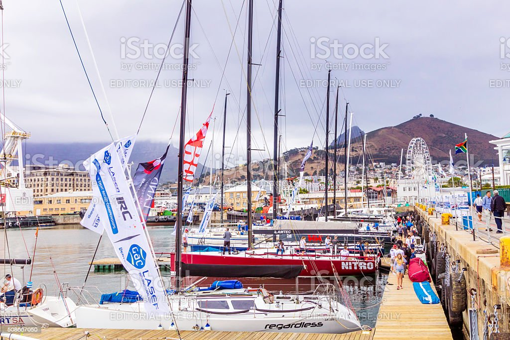Racing yachts at the docks in Cape Town harbour stock photo