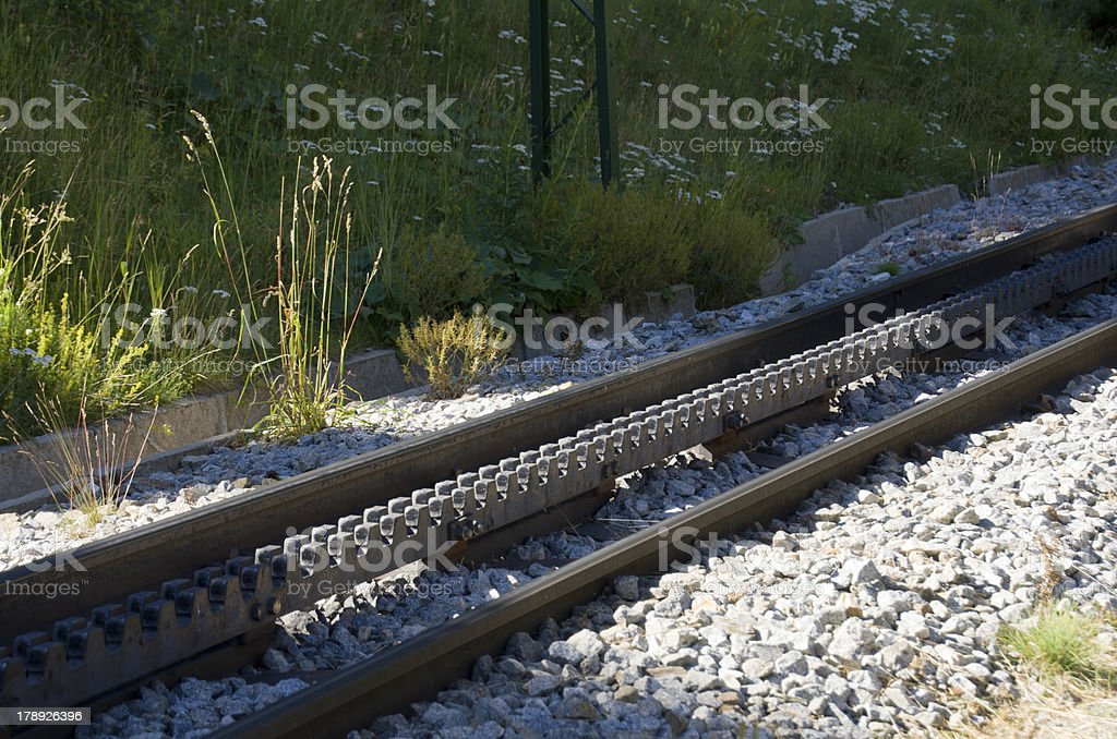 Rack and Pinion Tracks stock photo