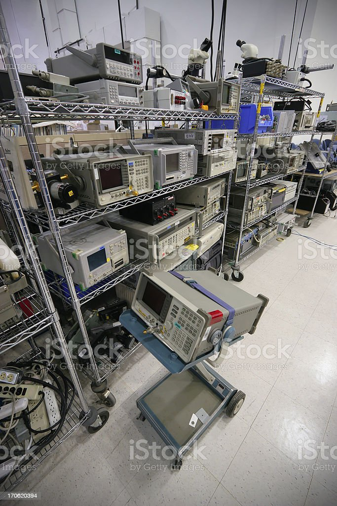 Rack full of Hightech Electronic Equipment in an Industrial Building royalty-free stock photo