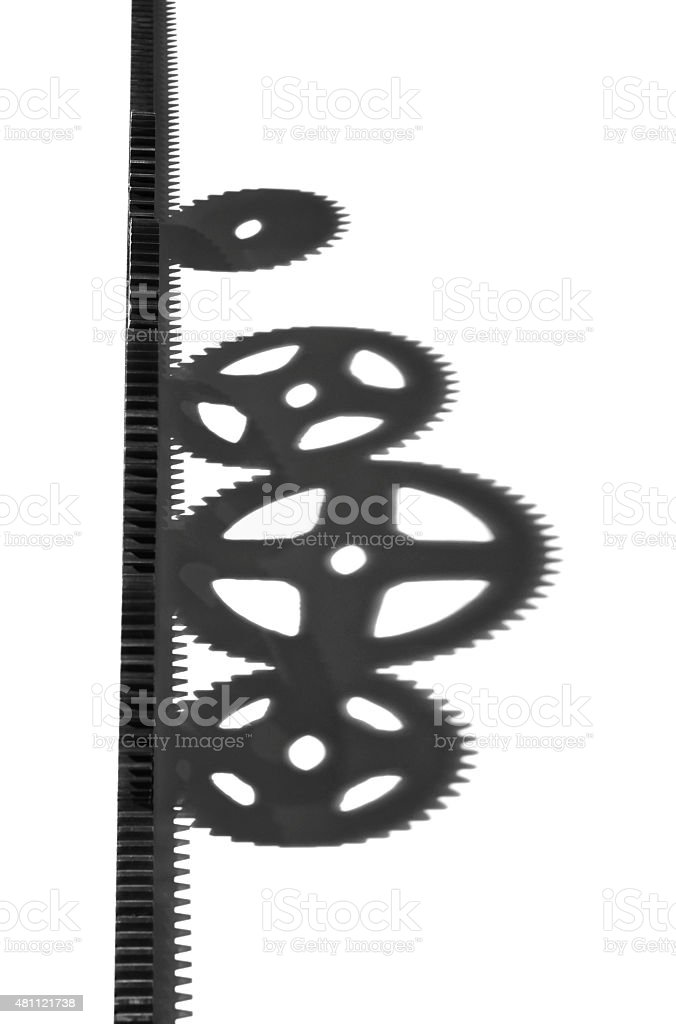 Rack Gear with round cogs casing shadows stock photo