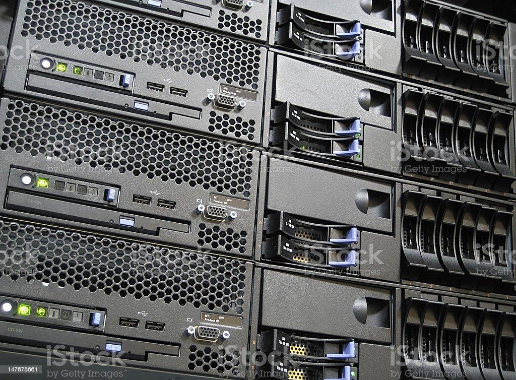 Rack Mounted Computer Server Farm Cluster stock photo