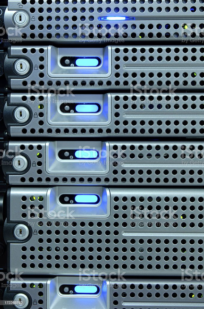 Rack Mounted Servers Close-up stock photo