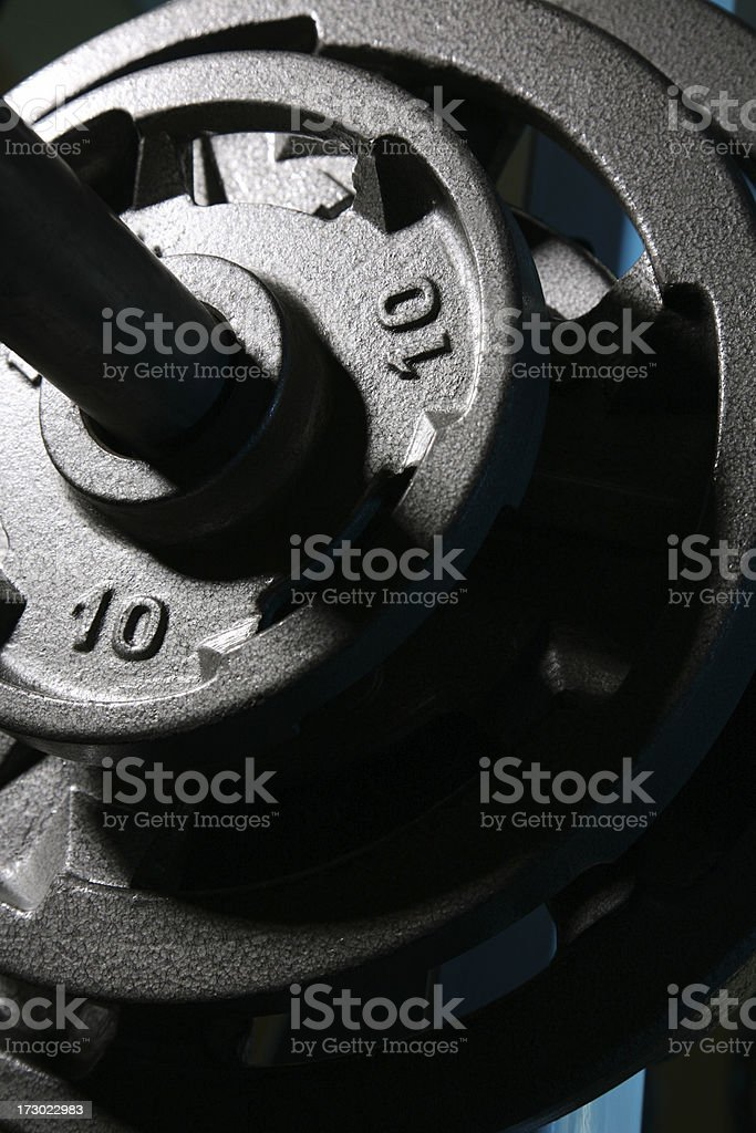 Rack of Barbell Exercise Weights in Gym on Bench press royalty-free stock photo