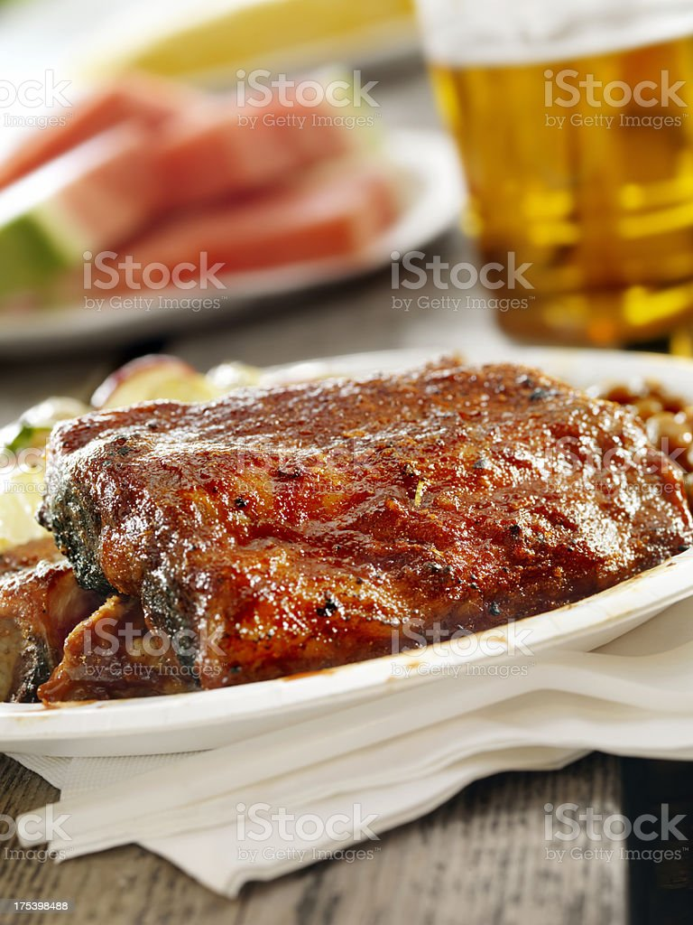 Rack of BBQ Ribs with a Beer royalty-free stock photo