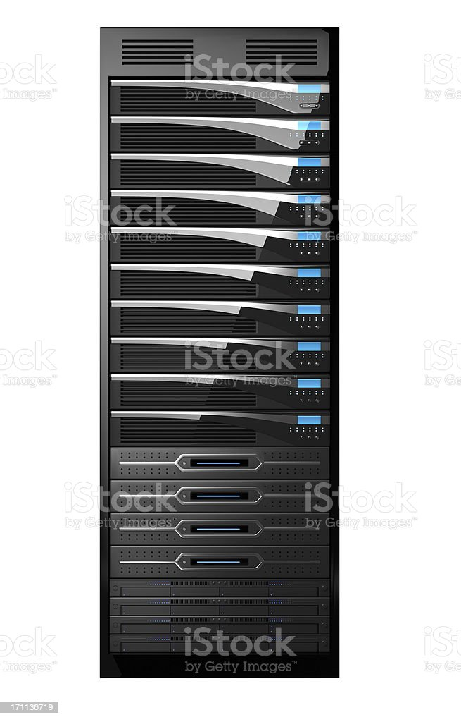 Rack of High Performance Servers royalty-free stock photo