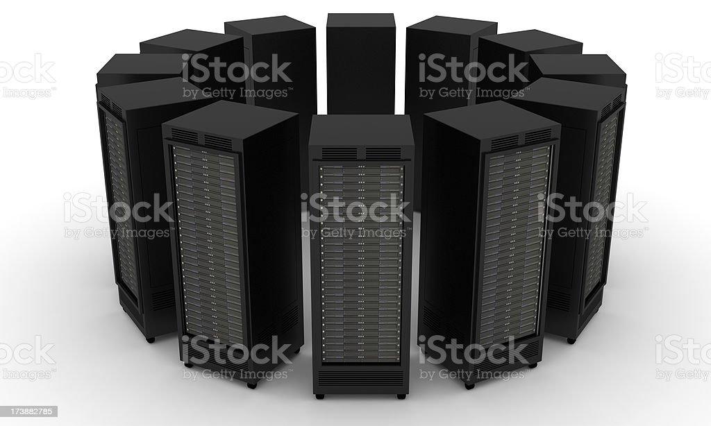 Rack of High Performance Servers royalty-free stock photo