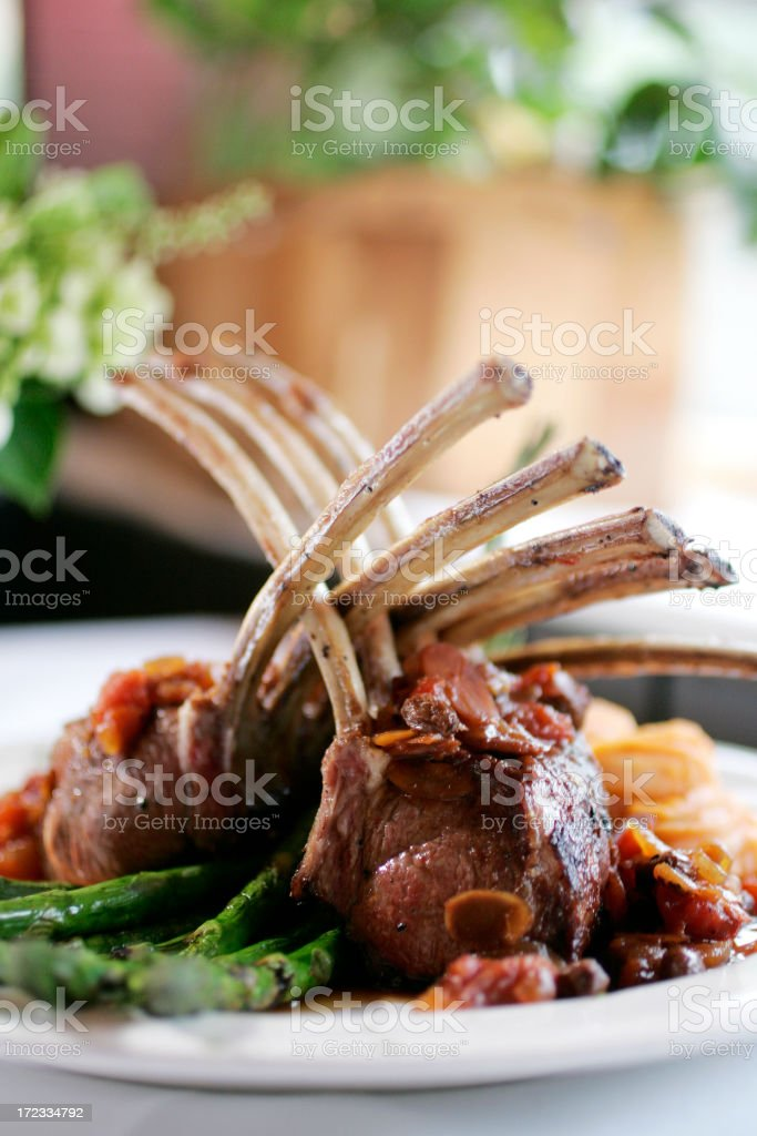 Rack of lamb and asparagus royalty-free stock photo