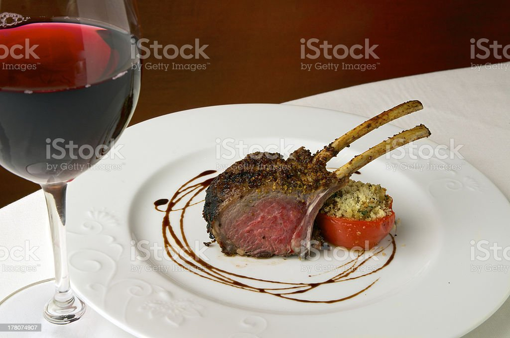 Rack of Lamb and wine royalty-free stock photo