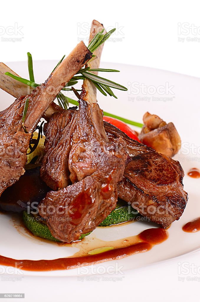 Rack of lamb grill with an a asparagus stock photo
