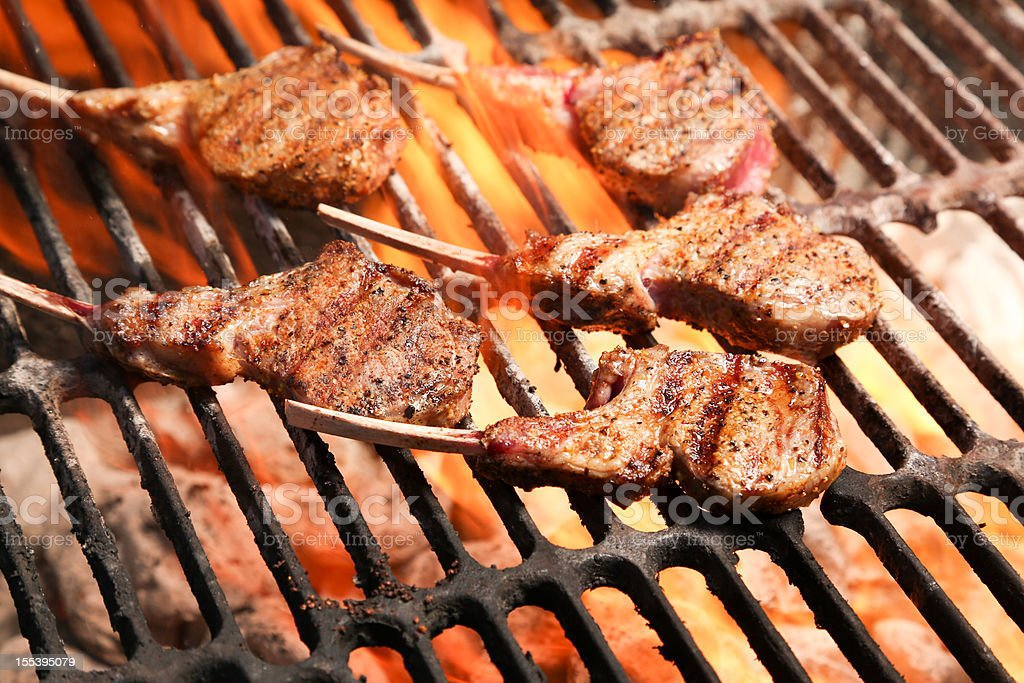 Rack of Lamb on Grill stock photo