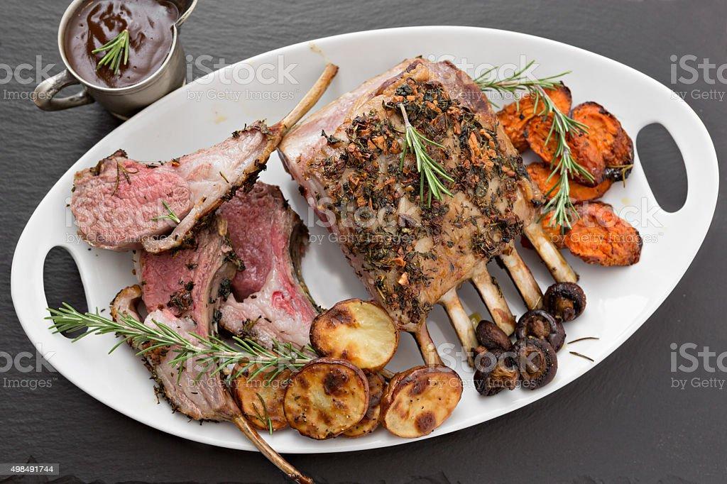 Rack Of Lamb Platter stock photo