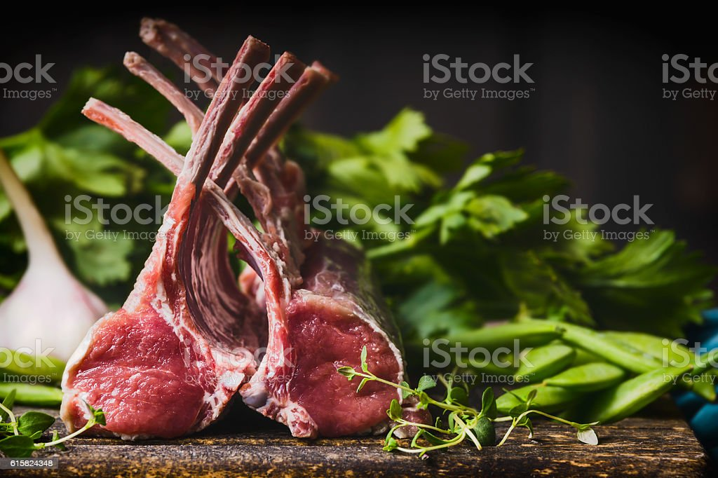Rack of lamb , raw meat with bone stock photo