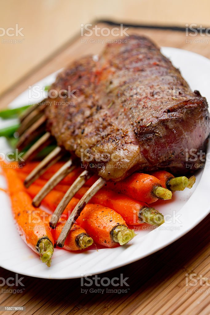 Rack of Lamb with Carrots and Green Beans royalty-free stock photo