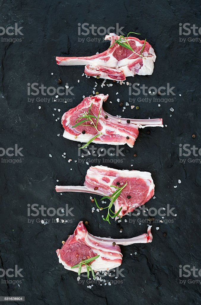 Rack of Lamb with rosemary and spices stock photo