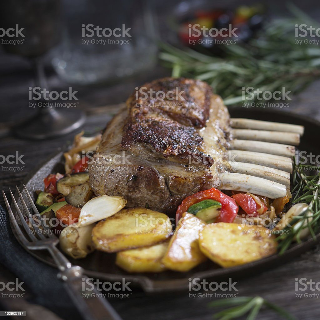 Rack of Lamb with Vegetable stock photo