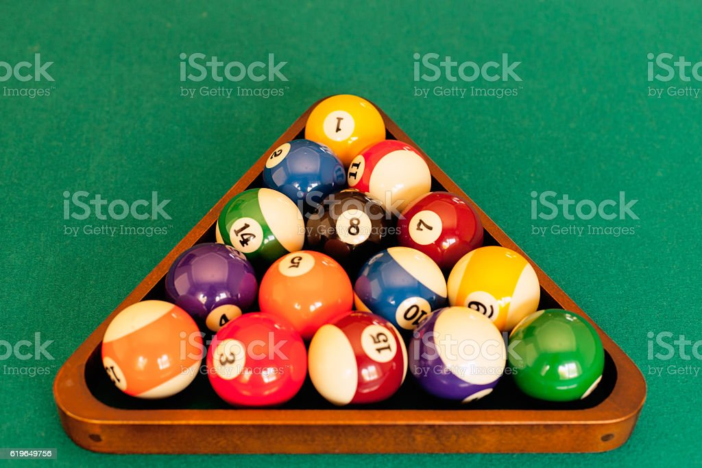 Rack of pool balls stock photo