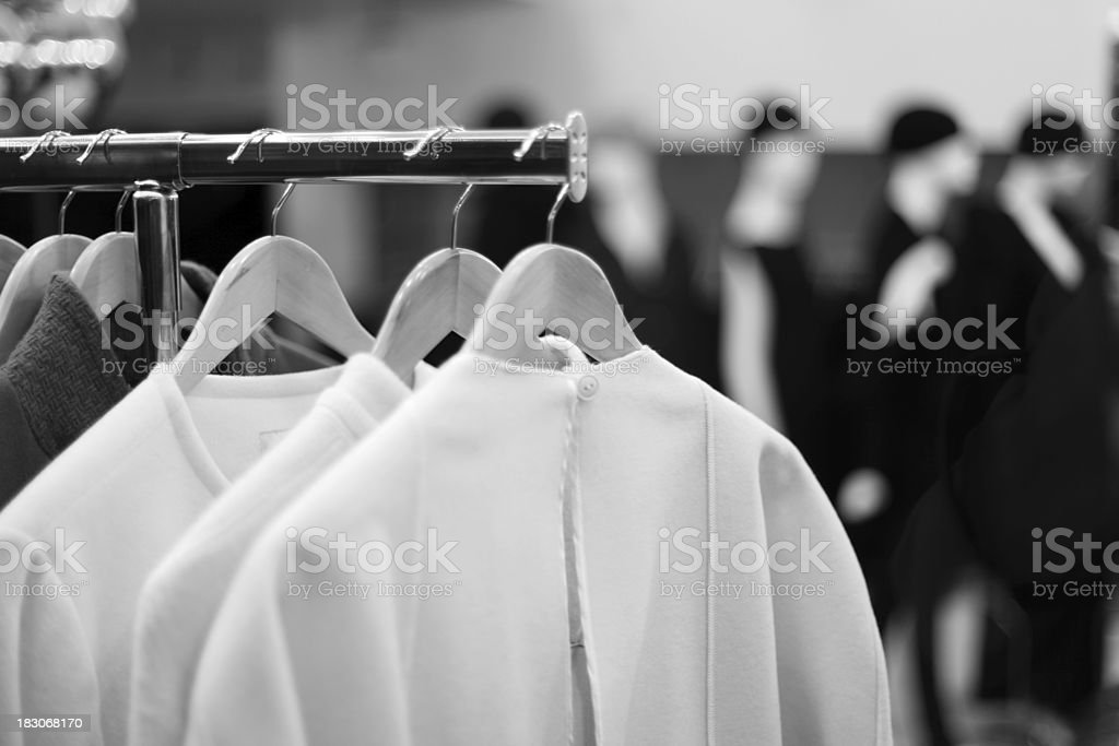 Rack of winter clothing in store royalty-free stock photo