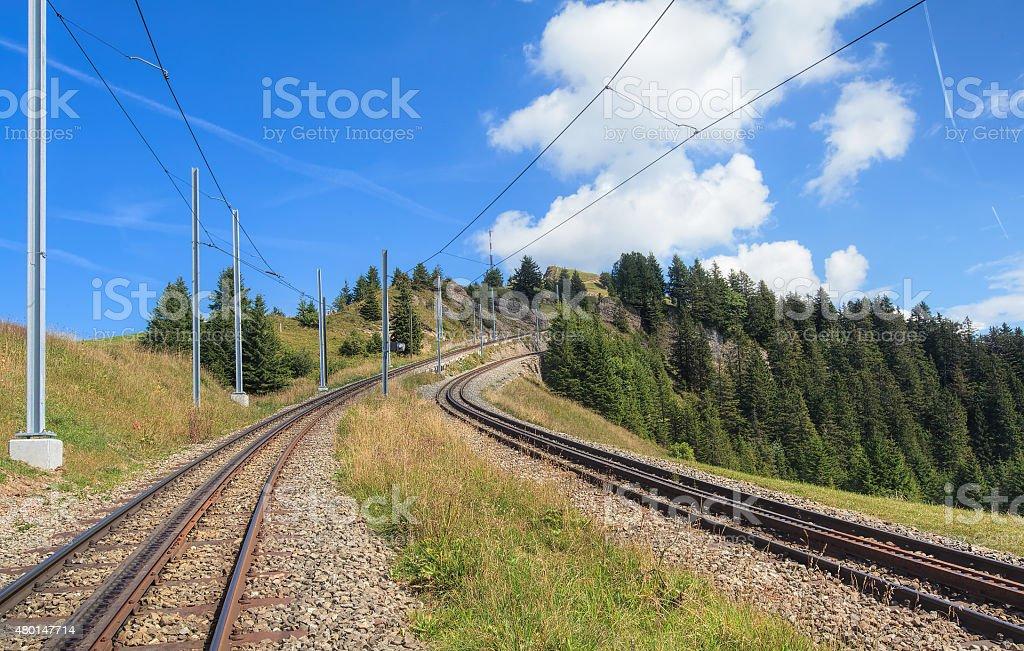 Rack railroad on Mount Rigi stock photo