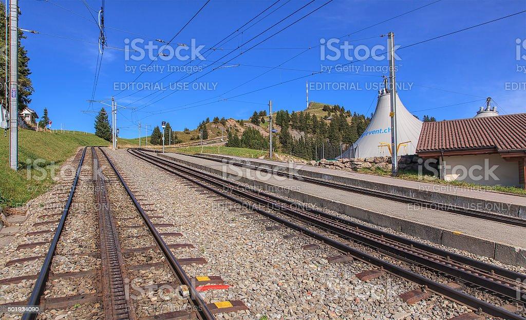 Rack railway on Mt. Rigi stock photo