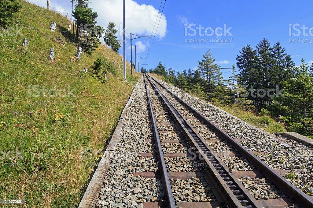 Rack Railway on Mt. Rigi, Switzerland stock photo