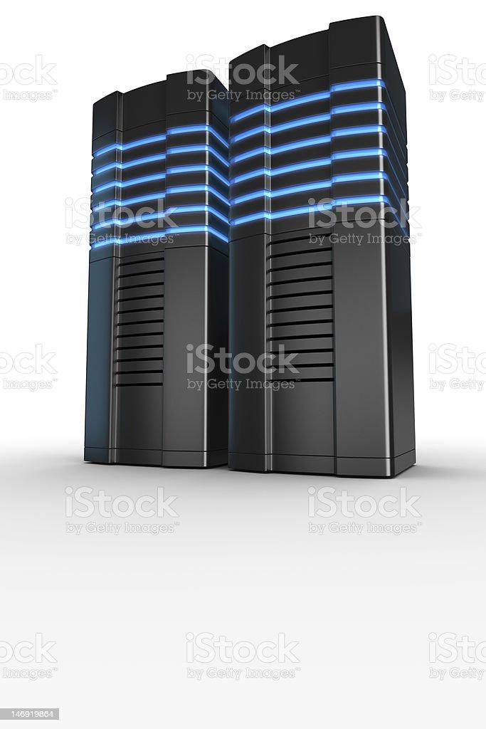 Rack servers on white background stock photo