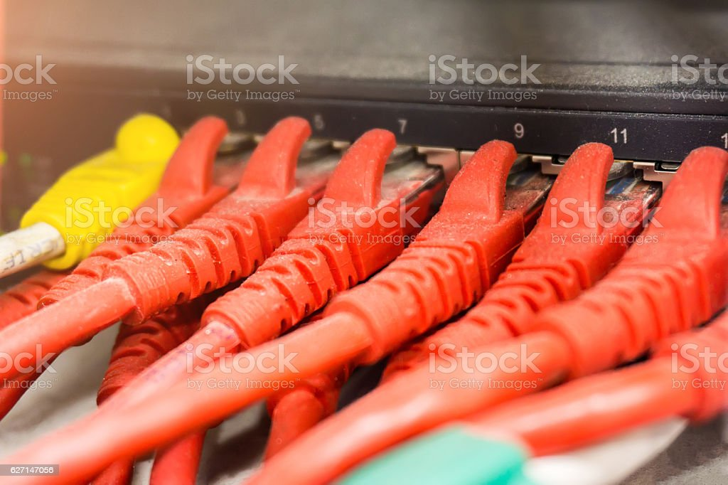 Rack Switches or Network panel switch and cable in data stock photo