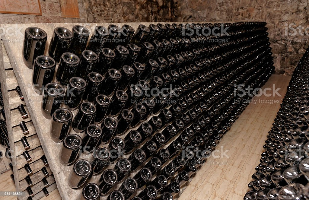 Rack used for ageing sparkling wines on the lees stock photo