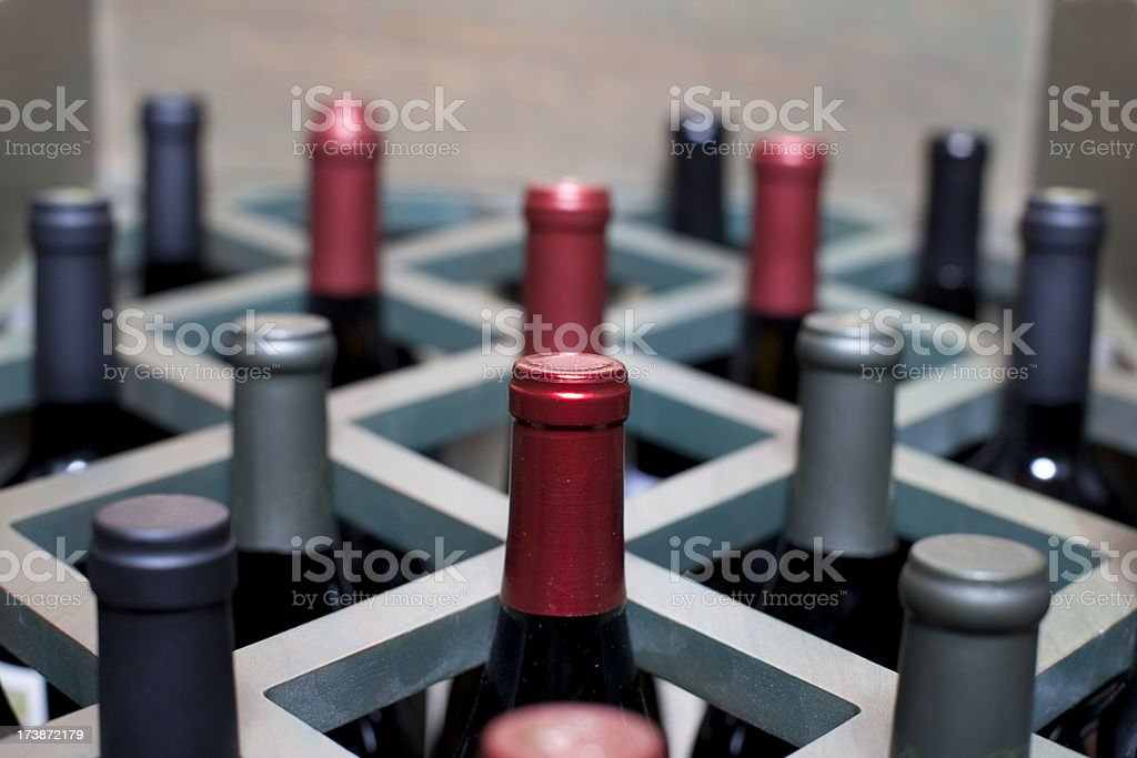 Rack with Bottles of Wine stock photo